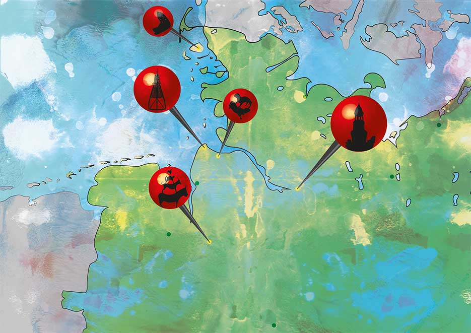 Illustration und Design Hamburg/Design/Maps/Norddeutschland/amvspreckelsen