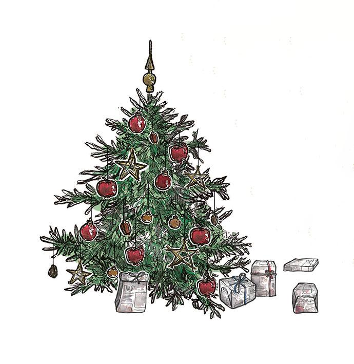 Illustration und Design Hamburg/Aquarell/Illustration/Klimafreundliches Weihnachten/amvspreckelsen
